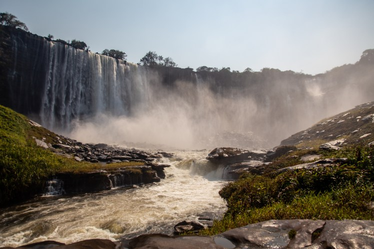 Angola travel blog, view of Kalandula Falls near the base of the falls.