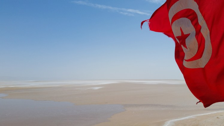Tunisian flag flying over the salt flats.