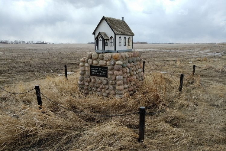 Former site of the Matchettvillle Church.   Abandoned Manitoba ghost town in 1961.
