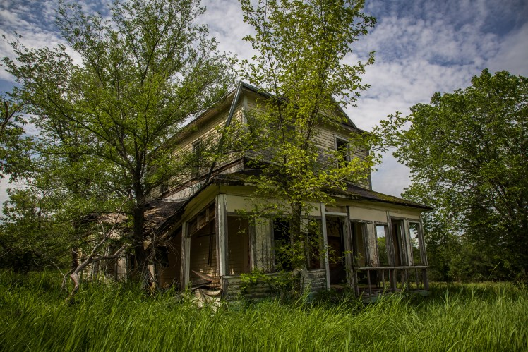 One of the few remaining houses - barely standing in the abandoned Manitoba ghost town of Ste. Elizabeth.
