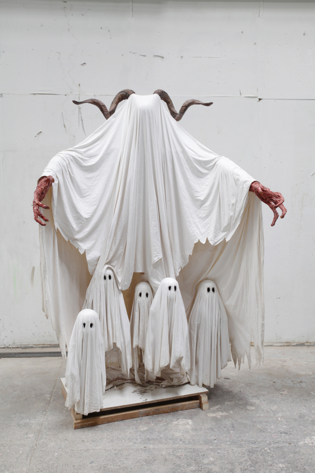 sculpture representing white ghosts