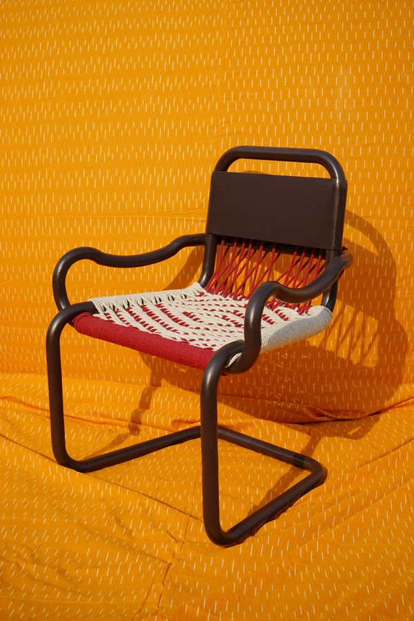 chair on an orange background