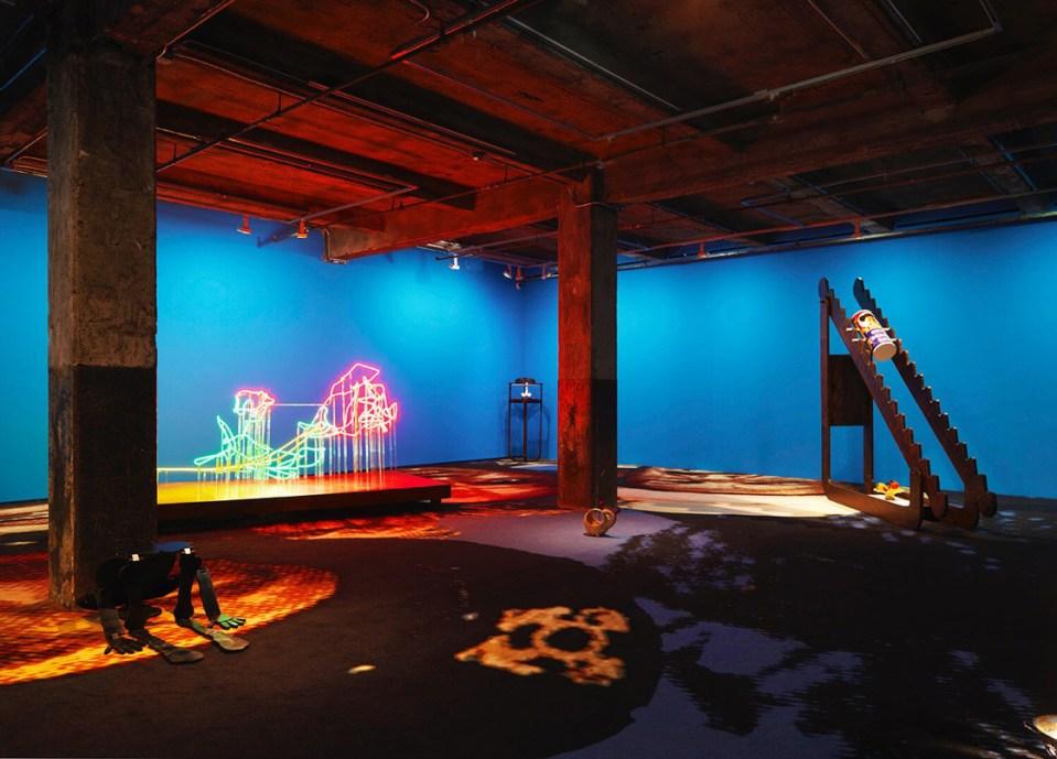 alex da corte installation, warehouse with blue walls