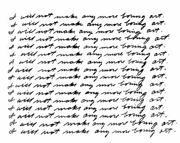 9.Any Boring Art, John Baldessari , Contemporary (he)art, Wevux, Giulia Serafin, contemporary art, conceptual art, Images, dots, I will not making any boring art, USA