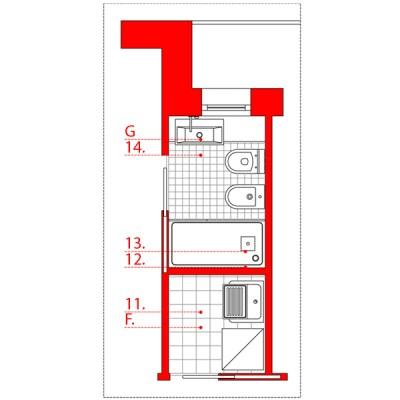 bagno lungo e stretto wevux scuola di interni soluzioni corridoio 04