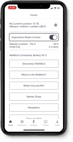 WeWALK Exploration Mode is open on the app