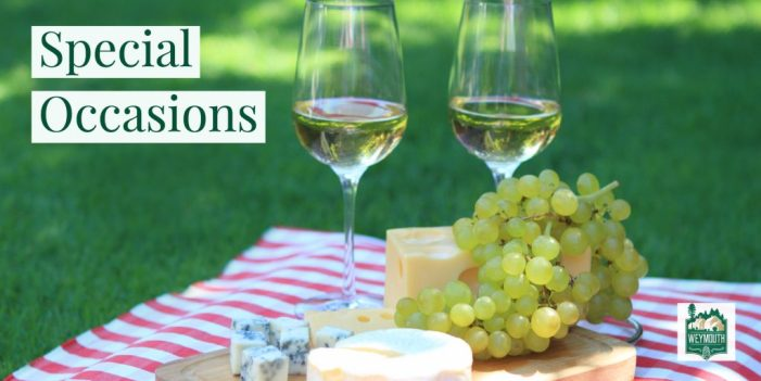 wine and cheese on the lawn