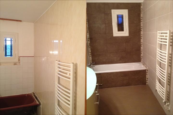 salle de bain carrelage et beton cire