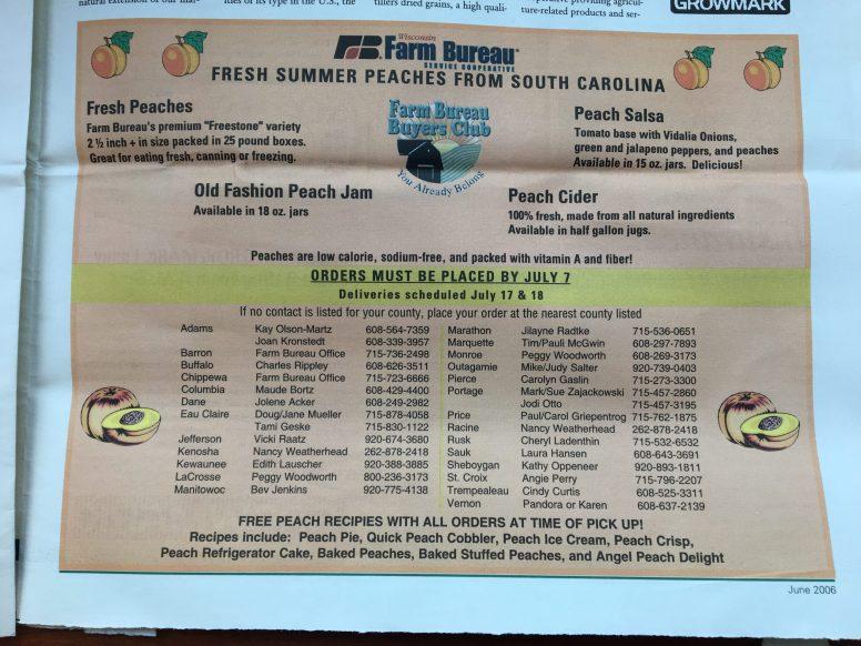 Wisconsin Farm Bureau used to coordinate peach sales for members to enjoy fresh fruit.