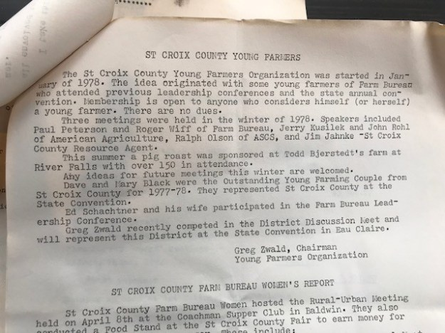 The St. Croix County Farm Bureau Young Farmer Program was introduced by Greg Zwald on October 11, 1978 at the county's annual meeting.