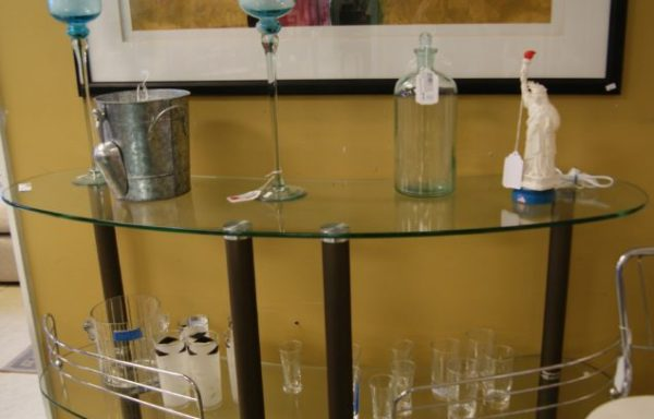 Three Tier Vintage Glass and Chrome Beverage Bar