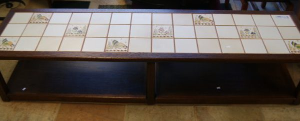 Vintage Inlay Ceramic Tile Coffee Table