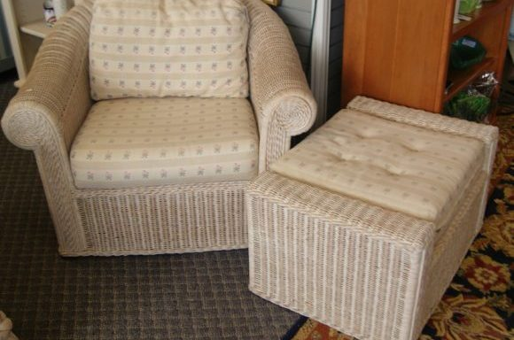 Wicker Arm Chair And Ottoman