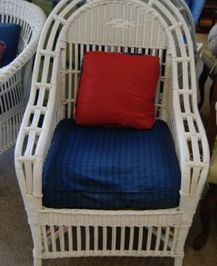 Vintage Fluted Fan Tall Wicker Chair with Cushion