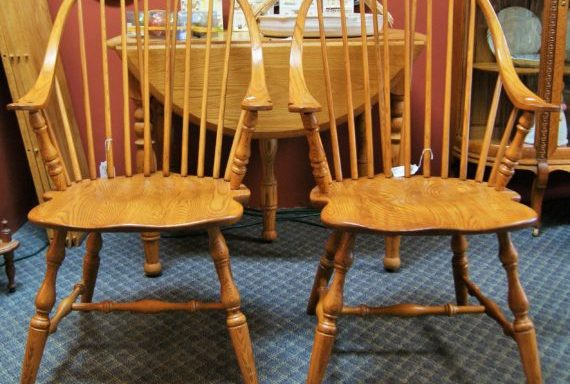 2-Amish Oak Arm Chairs Priced Separate