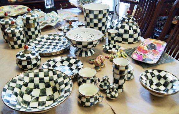 Mackenzie-Childs Hand Painted Ceramics And Metal Dinnerware-Home Decor