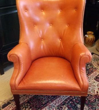 Leather Tufted Wing Back Arm Chair