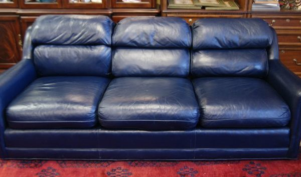 Navy Blue Leather Sofa Couch