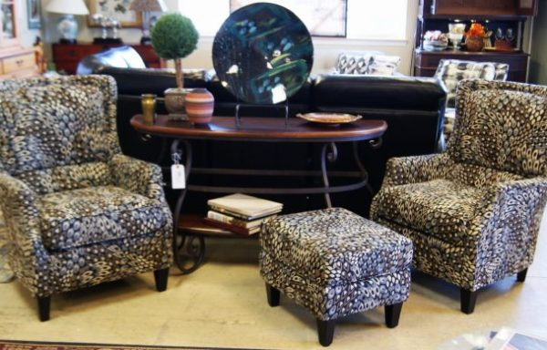 2-Contemporary Wing Back Chairs And Ottoman Sold Separate