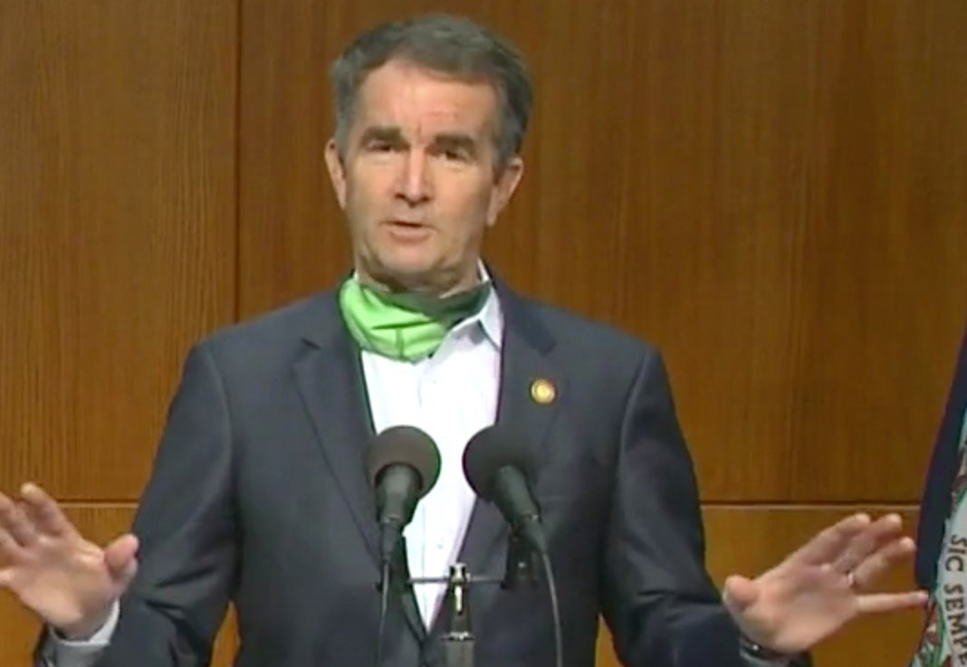 Virginia Governor Ralph Northam speaks on a facebook stream.
