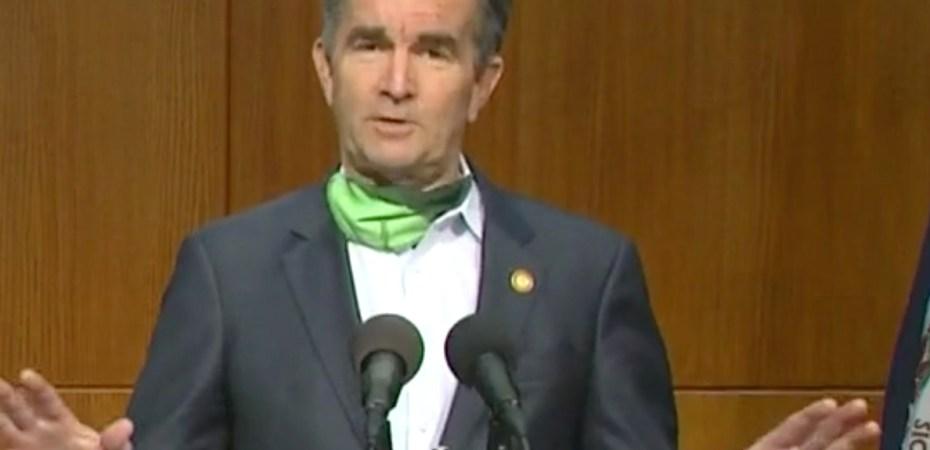 Virginia Governor Ralph Northam speaks on a facebook stream.