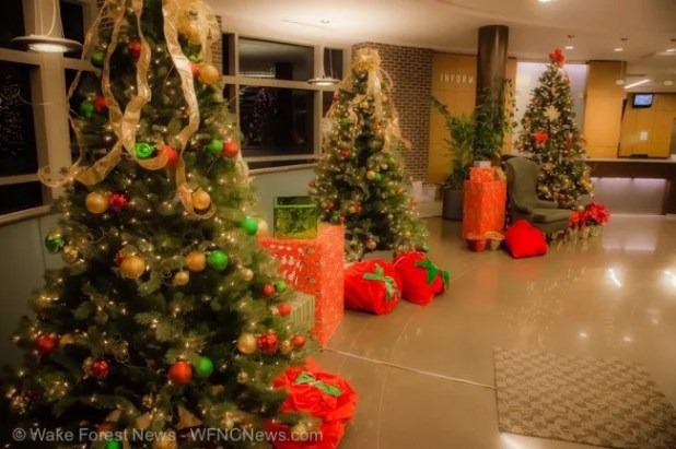 Wake Forest Town Hall lobby is Santa ready