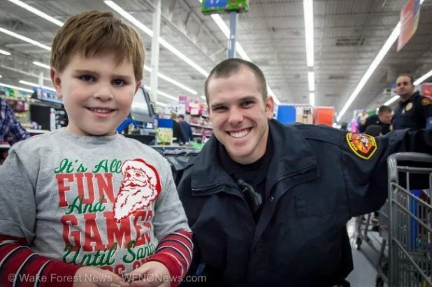 Dominic and Officer Albert end shopping with a smile.