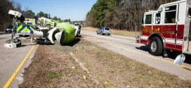 Raleigh Engine 22 deals with mess created by overturned cement truck.