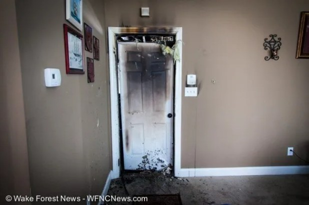 The interior door from the garage held back most of the fire, the family room appeared to be mostly undamaged.