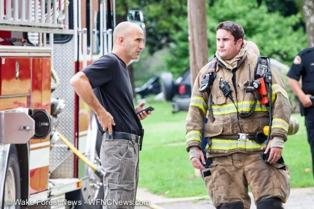 Wake Forest Fire Department Assistance Chief Cash and Captain Thomas discuss the status of the fire.