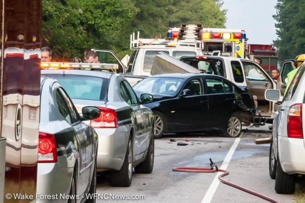 Cars tangled in bad accident this morning on Durham Road.