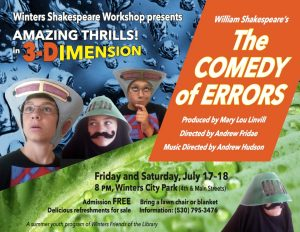 July 17 and 18 in Winters, Comedy of Errors by Winters Shakespeare Workshop a youth program of the Winters Friends of the Library