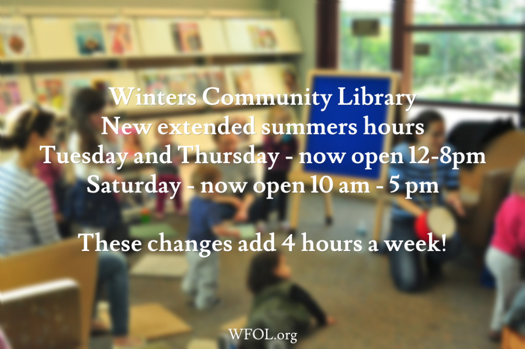 Winters Communiy Library New  Extended SummerHours