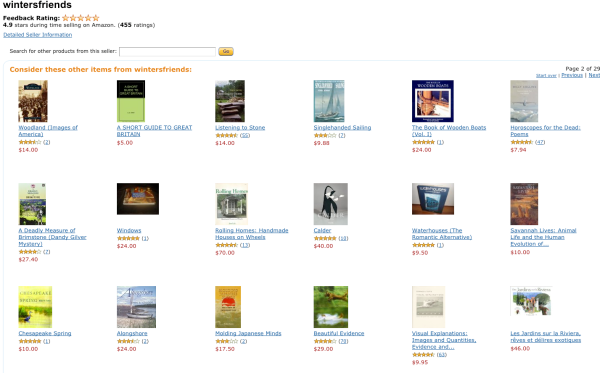 A screenshot of our wintersfriends Amazon online bookstore