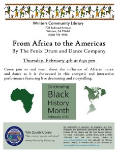 From Africa to the Americas Library Program poster for Winters Community Library