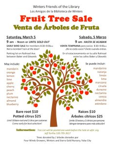 Winters Friends of the Library Fruit Tree Sale March 5