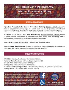 Overview of Fall Programs at the Winters Community Library