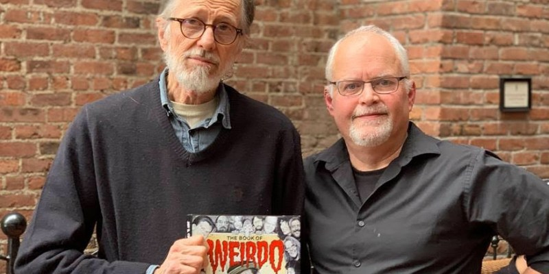 R. Crumb & Author Jon B, Cooke holding a copy of Book Of Weirdos, Author Talk June 17, 2019 at Winters Community Library