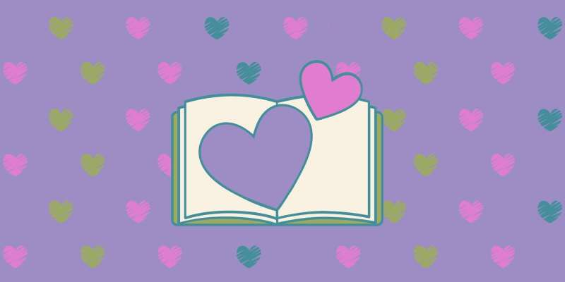 open book and hearts
