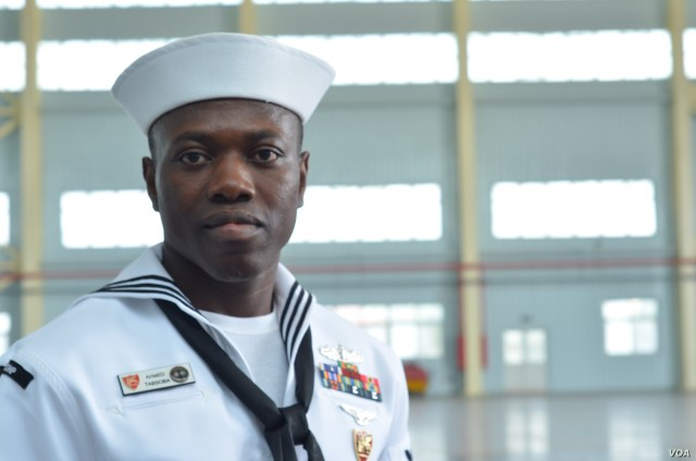 Ahmed Tabsoba, who grew up in Ghana, is now a U.S. citizen working for the U.S. Navy and back in his former home country as part of the conference. (Stacey Knott for VOA)