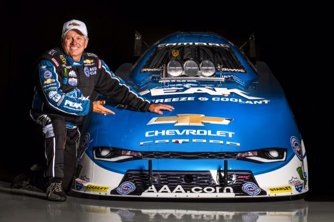Chevrolet and 16-time NHRA champion John Force unveil the all-new 2016 Camaro SS Funny Car Tuesday, May 17, 2016 in Brownsburg, Indiana. The new Funny Car body is the first based on the sixth-generation Camaro SS. Force will race the new Funny Car this weekend at the NHRA Kansas Nationals in Topeka, Kansas. Force's teammates Courtney Force and Robert Hight will introduce new Camaro SS Funny Cars later this season. (Photo by Eric Meyer for Chevy Racing)