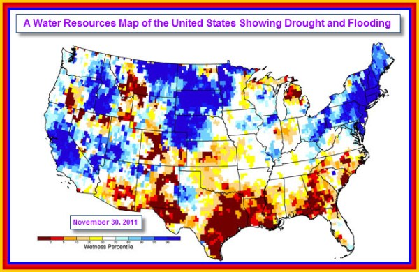 Drought and Flooding Map of the United States. | Chaos ...