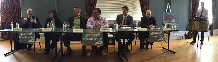 Some of the plaintiffs and their attorneys at a panel discussion in Lexington.