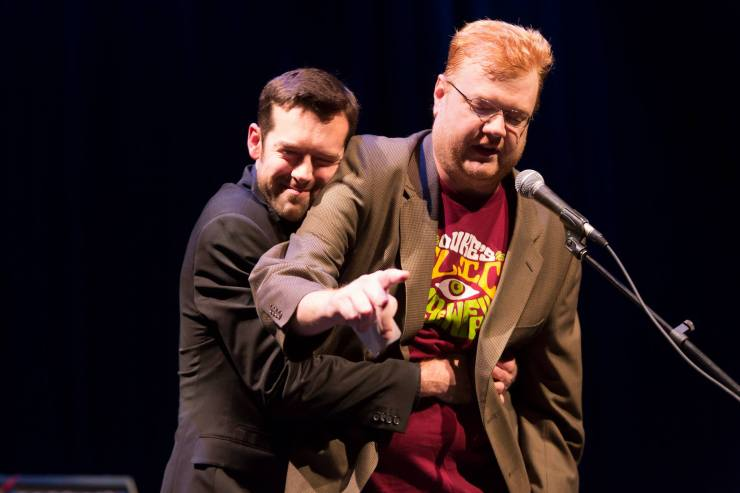 Kyle Meredith with James Bickers at WFPK's 20th anniversary celebration earlier this year.