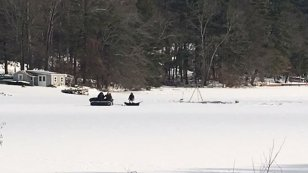 Police and DEEP are searching Pachaug Pond on Tuesday morning. (WFSB)