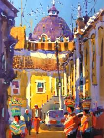 """Holy Spirit Iglesias - Quetzaltenagngo"" Frank Francese, watercolor 30""x22"""