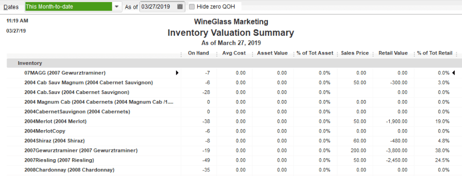 image of an inventory report in Quickbooks