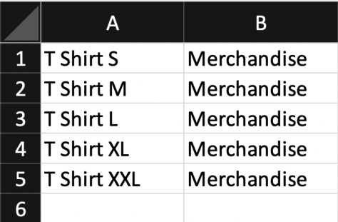 T Shirt Mapping in QuickBooks with Excel