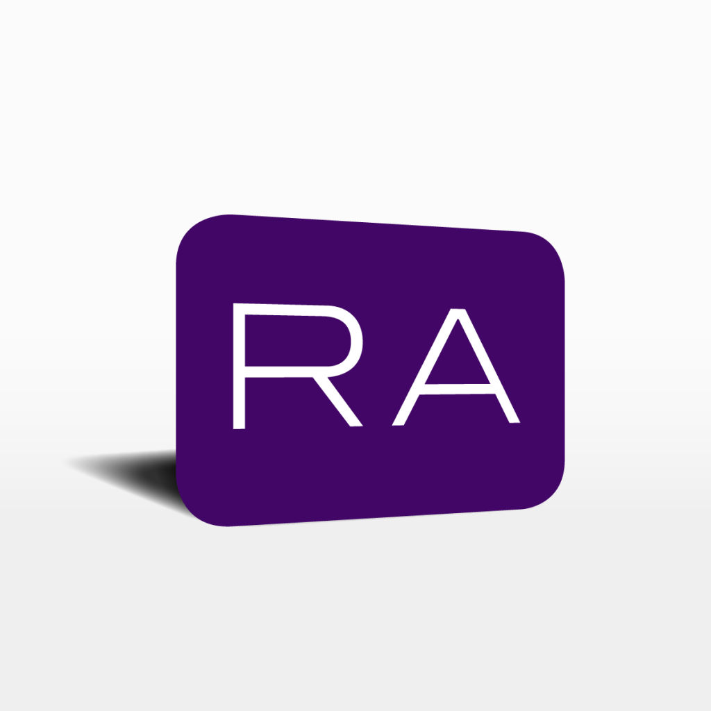 """the WGits Reckon purple icon showing letters """"RA"""""""