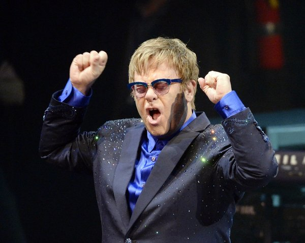 "Musician Elton John performs songs off his new album ""The Diving Board"" with USC Thornton School of Music students in Los Angeles"